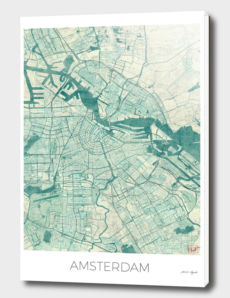 Amsterdam Map Blue