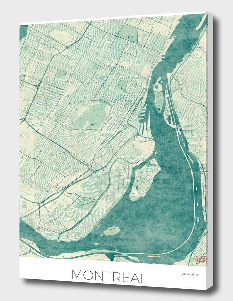 Montreal Map Blue