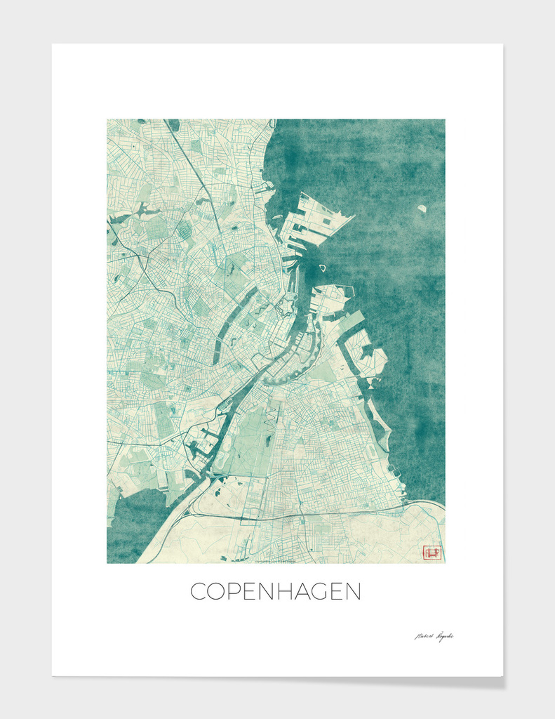 Copenhagen Map Blue