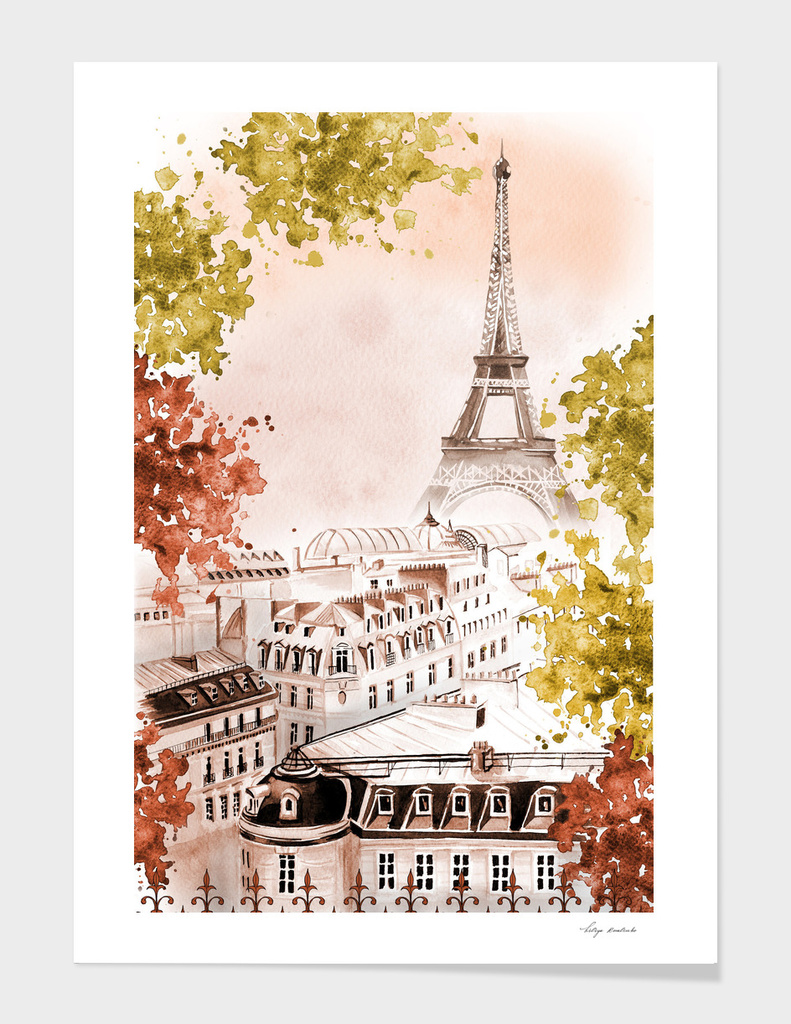 city Paris watercolor