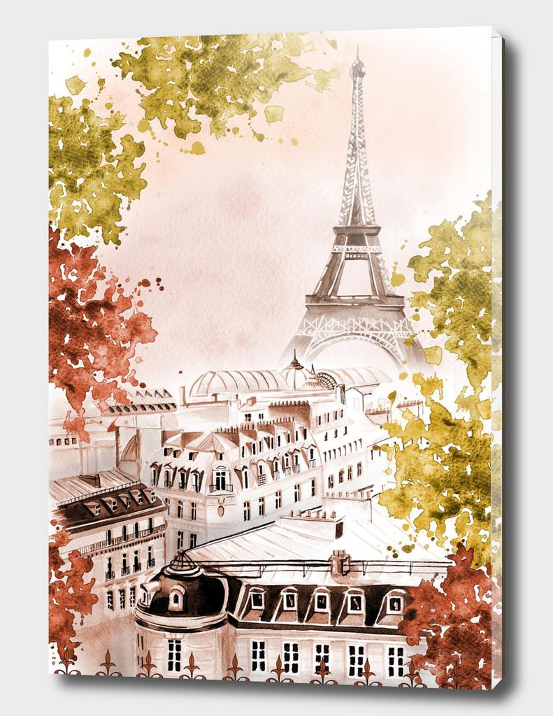 city Paris watercolor