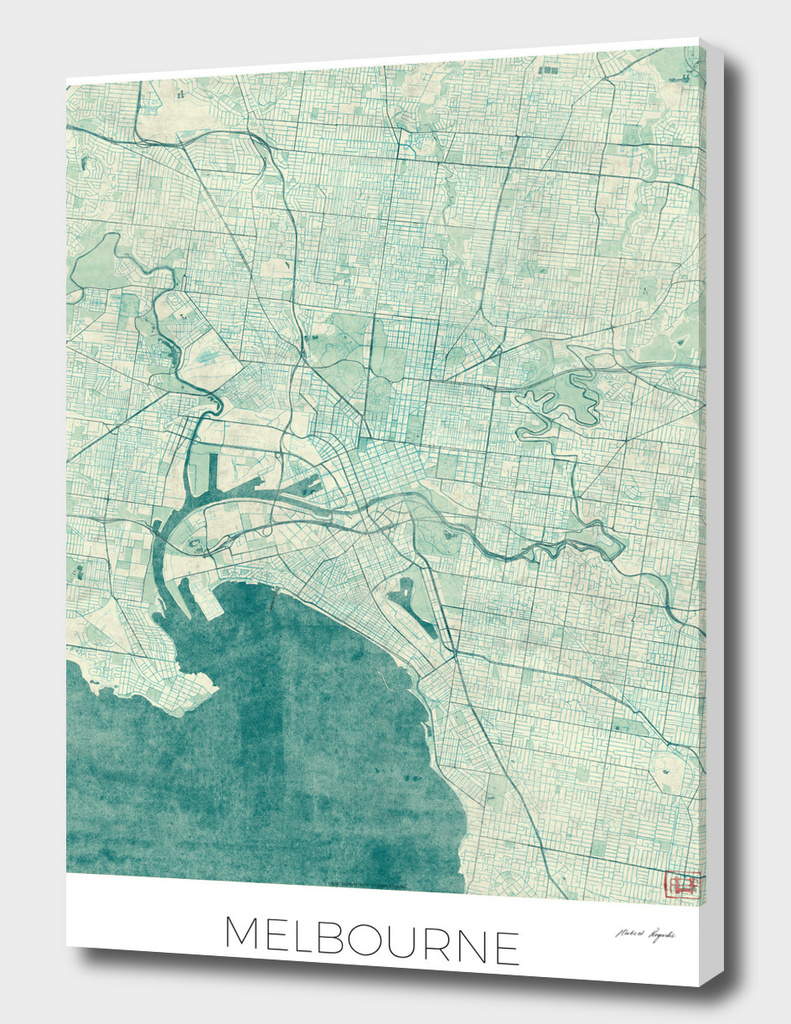 Melbourne Map Blue
