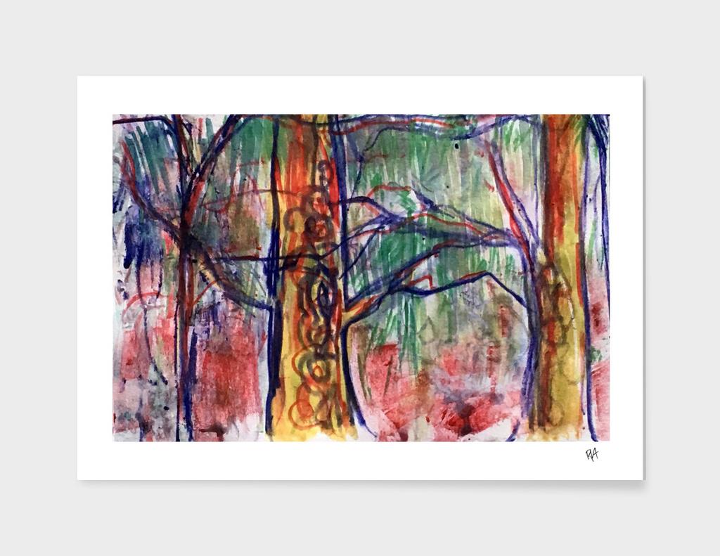 Fauve woods monotype