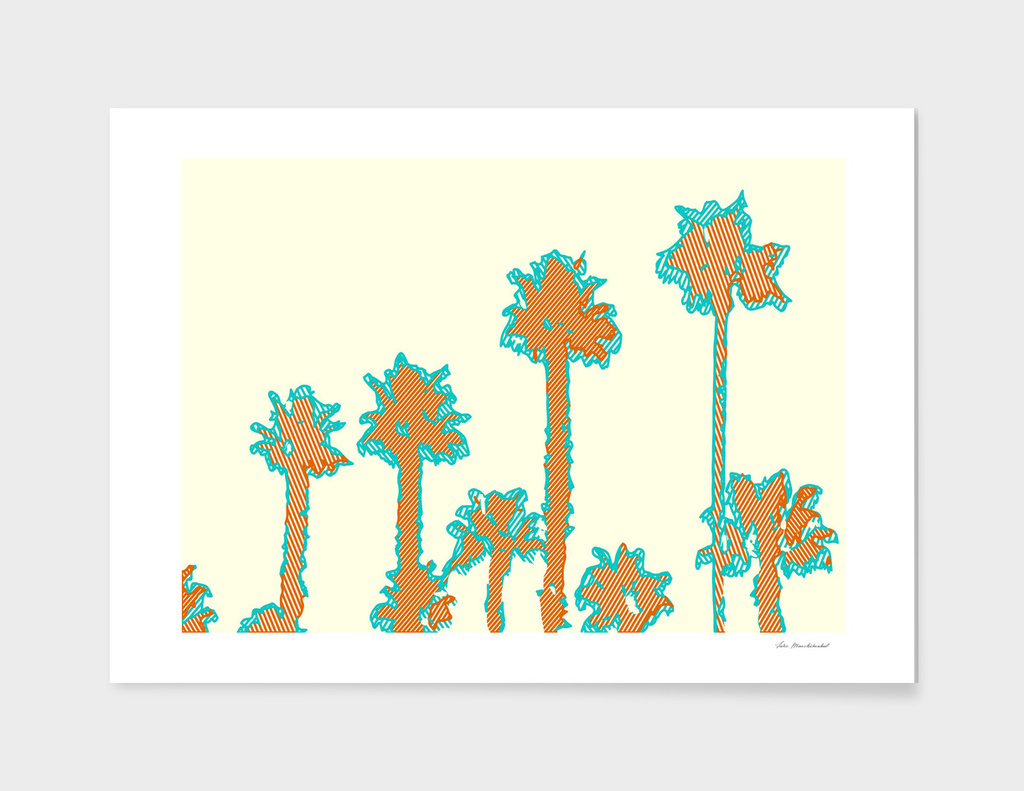 brown and blue palm trees with yellow background