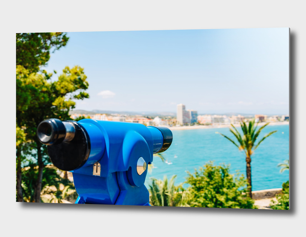 Blue Coin Operated Telescope Of Panoramic Peniscola City