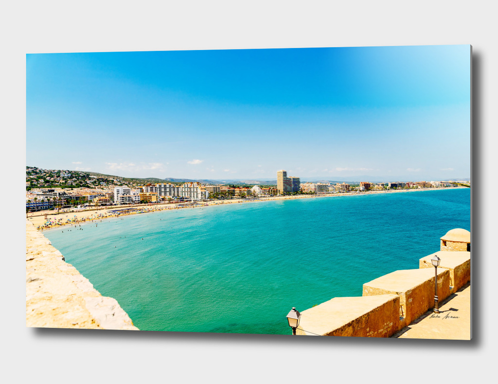 Panoramic Skyline View Of Peniscola City In Spain