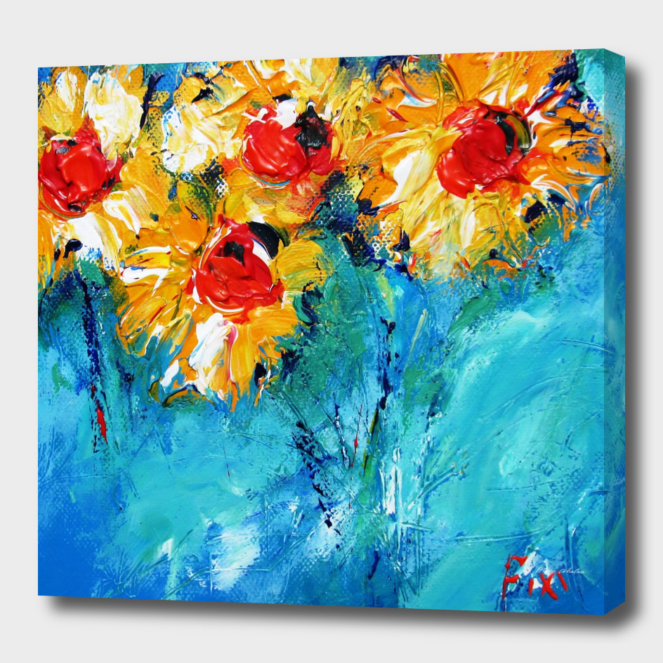 sunflowers on denim blue