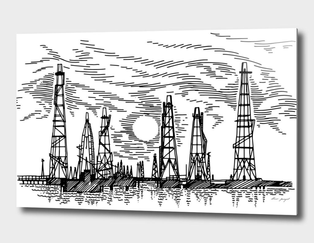 sea oil fields hand drawing