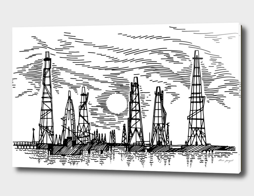 sea oil fields hand drawing