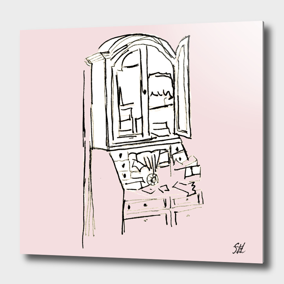 Antique Secretary Desk Drawing On Blush Background