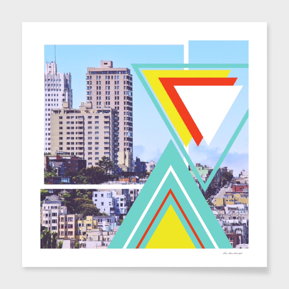 buildings in the city with colorful triangle shape