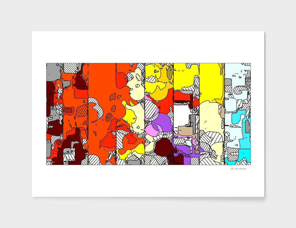 colorful geometric drawing and painting abstract