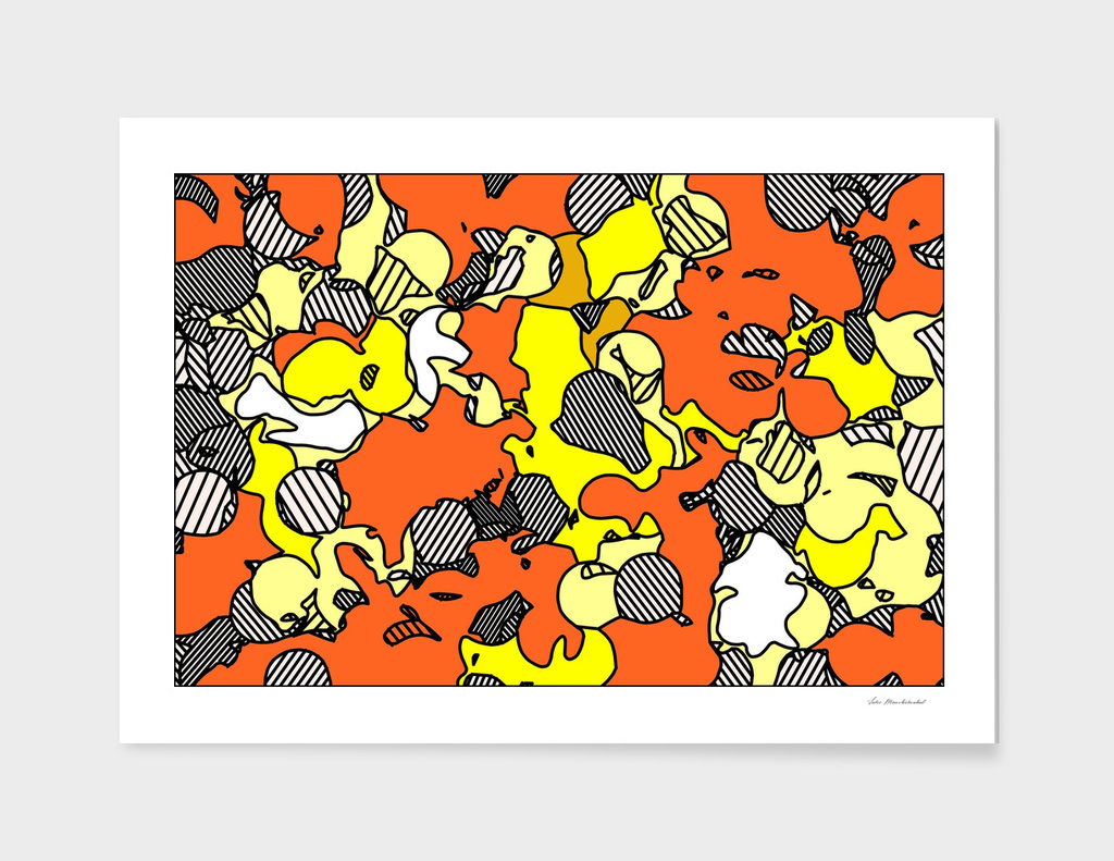 psychedelic drawing and painting in orange and yellow