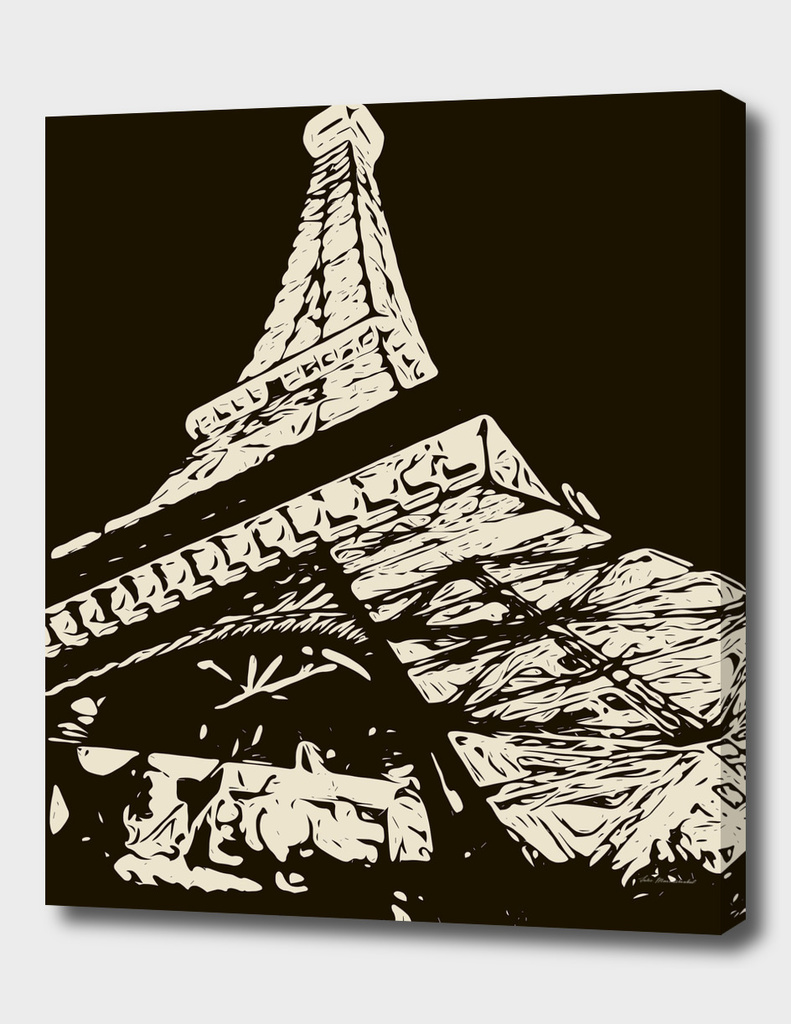 drawing Eiffel Tower, Paris in black and white