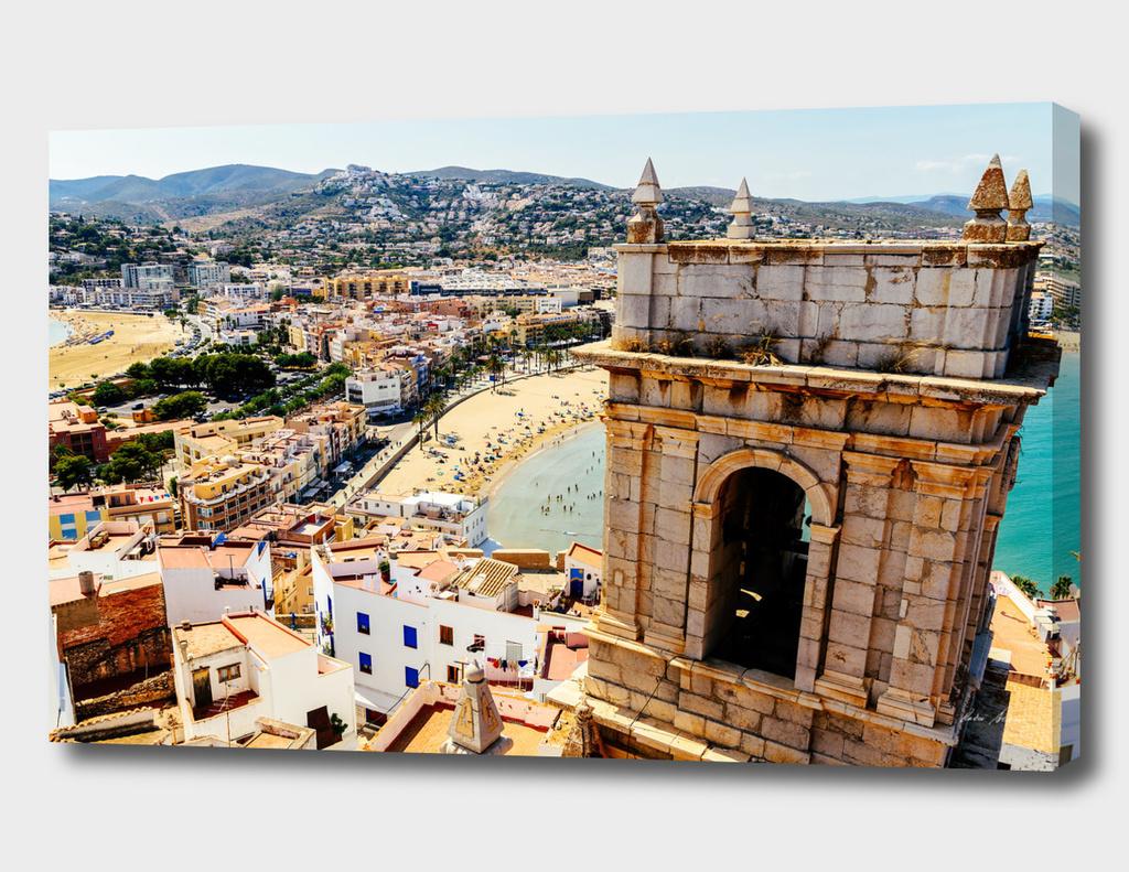 Aerial Panoramic View Of Peniscola City In Spain