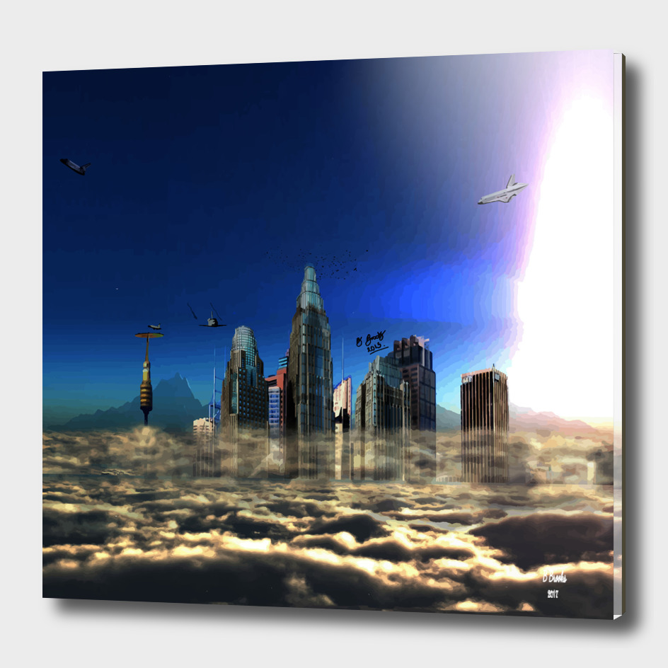 city in the clouds  dark framed print