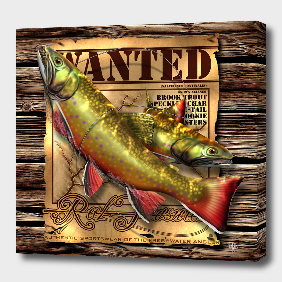 REEL TREASURES WANTED-Brook Trout Canvas Wrap