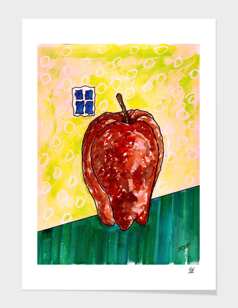 Lonely Apple At Window