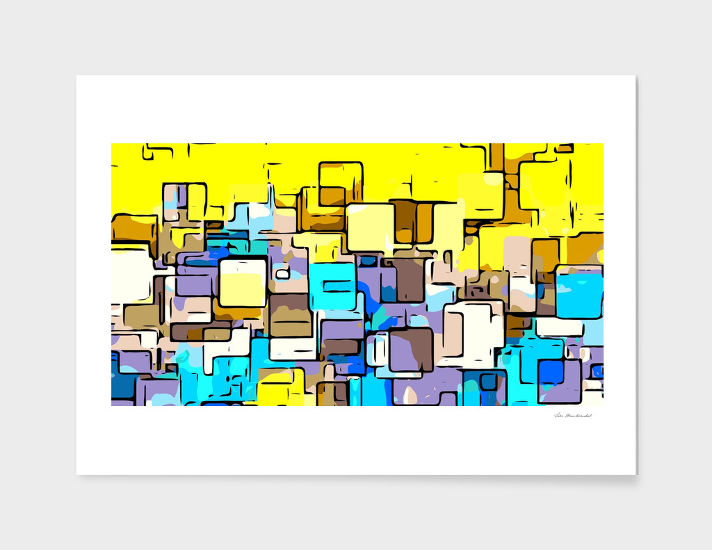 geometric graffiti square pattern abstract in yellow blue