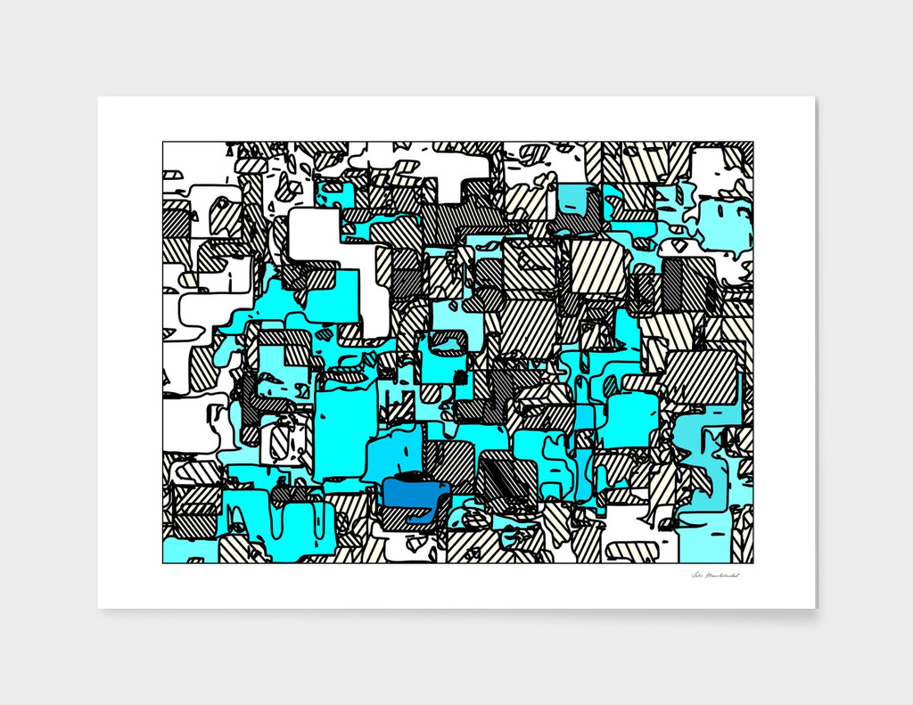 geometric graffiti square pattern abstract in blue white