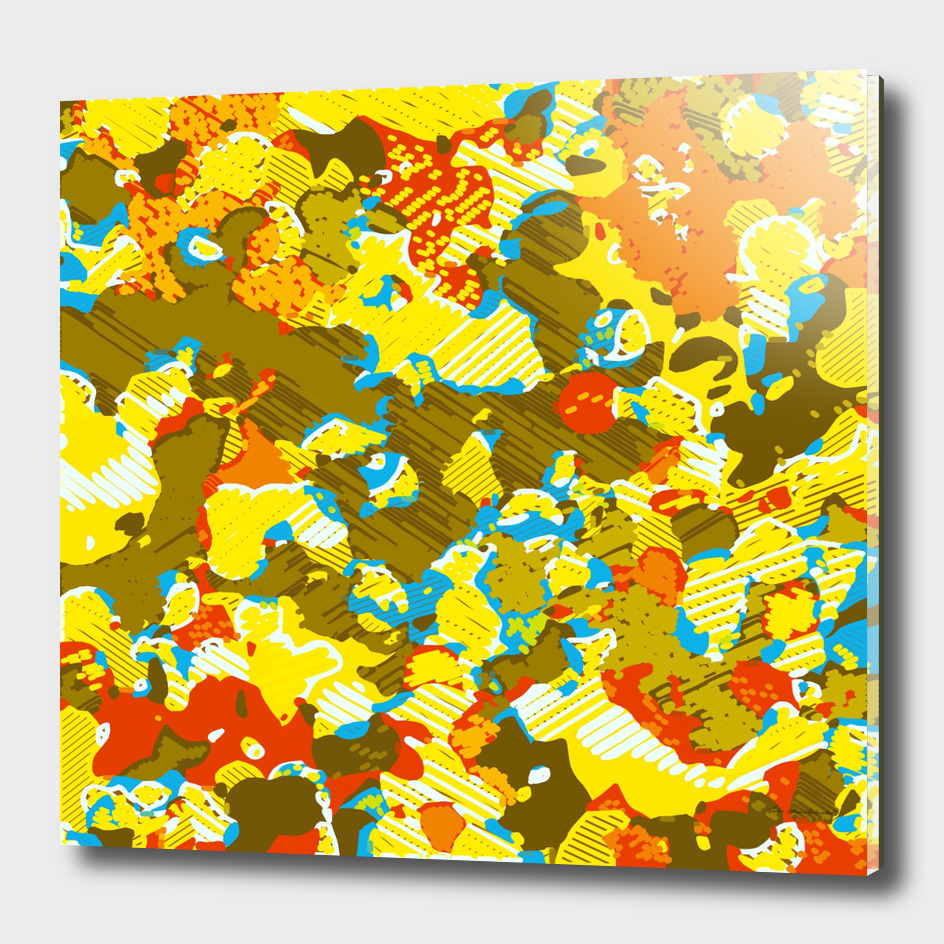 psychedelic graffiti painting abstract in yellow blue brown