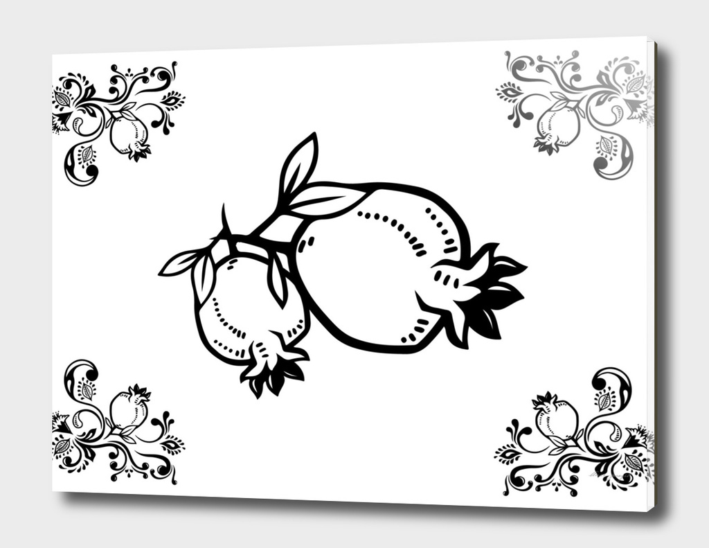 ornamental lineart pomegranate