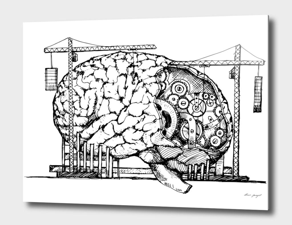brain mechanism hand drawing