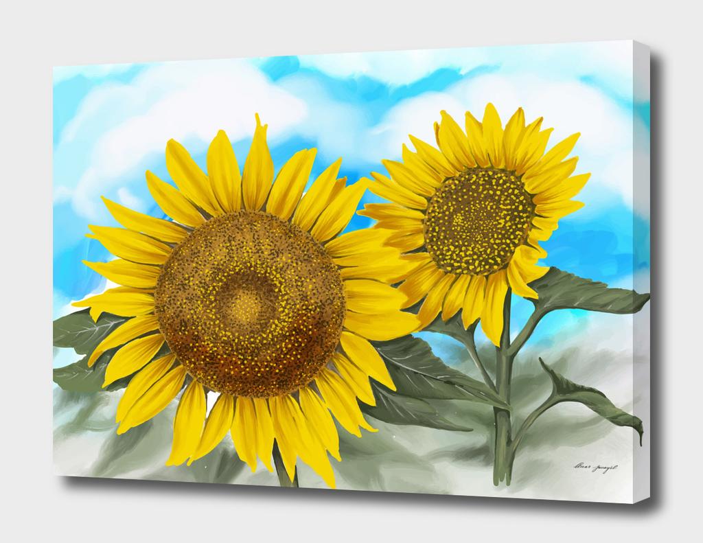hand painting sunflowers