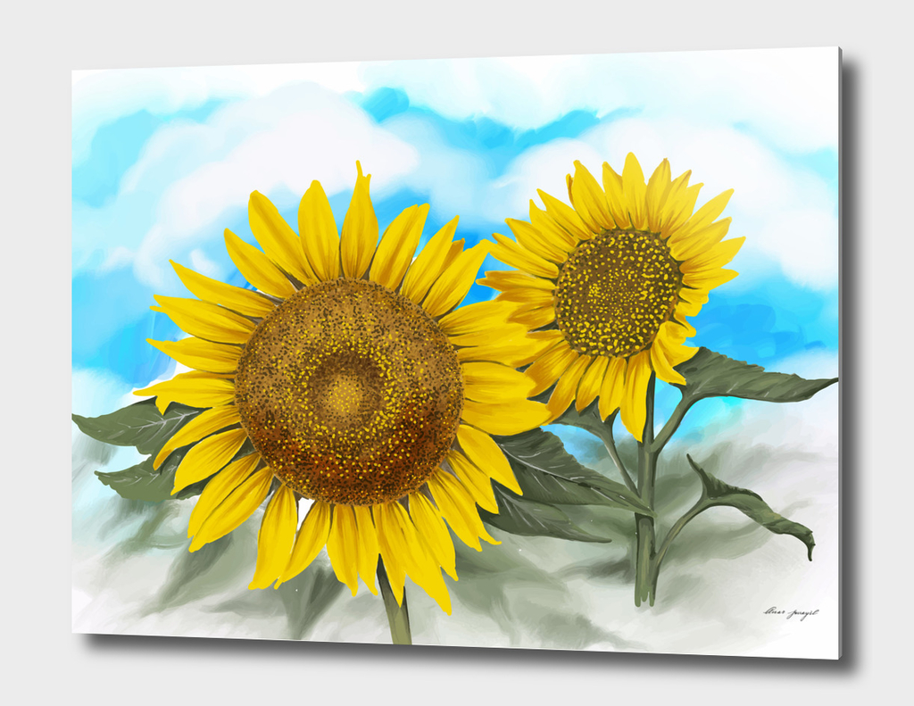 hand painting sunflowers
