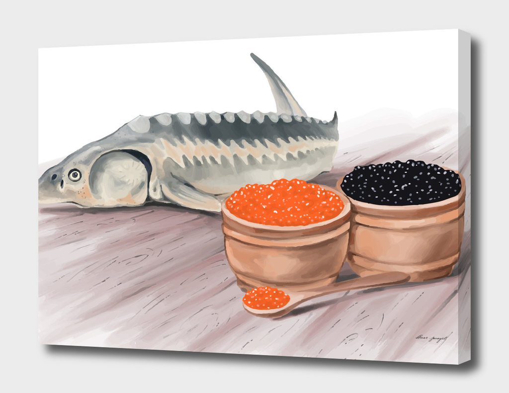 sturgeon fish and caviar hand painting