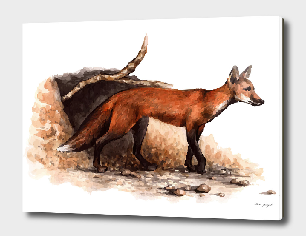 watercolor forest fox