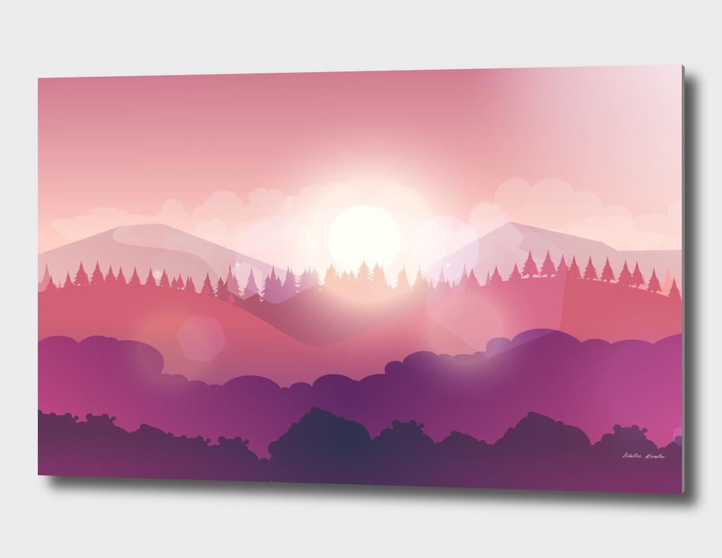Mountain Nature Landscape, Vector Illustration