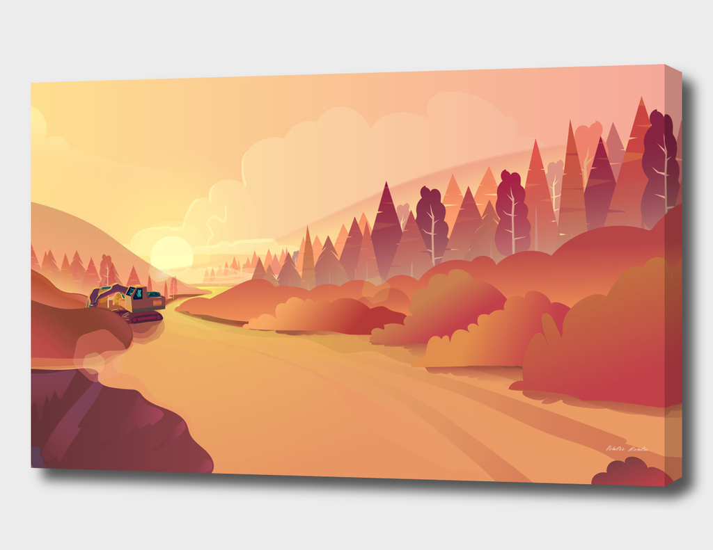 Gold Mining, Nature  Illustration