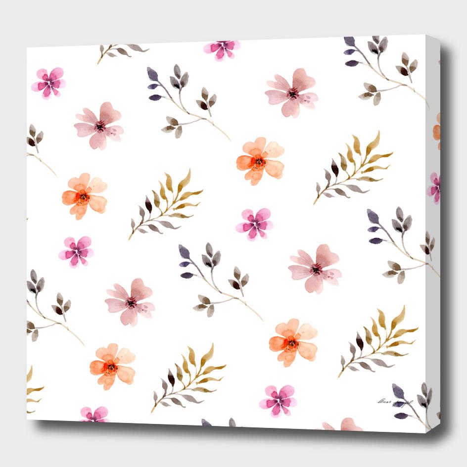 spring flowers leaves pattern