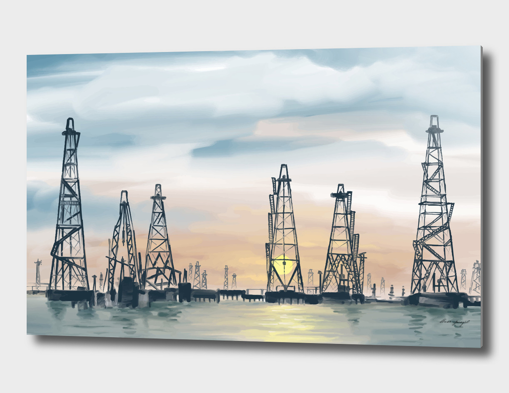 sea oil fields hand painting