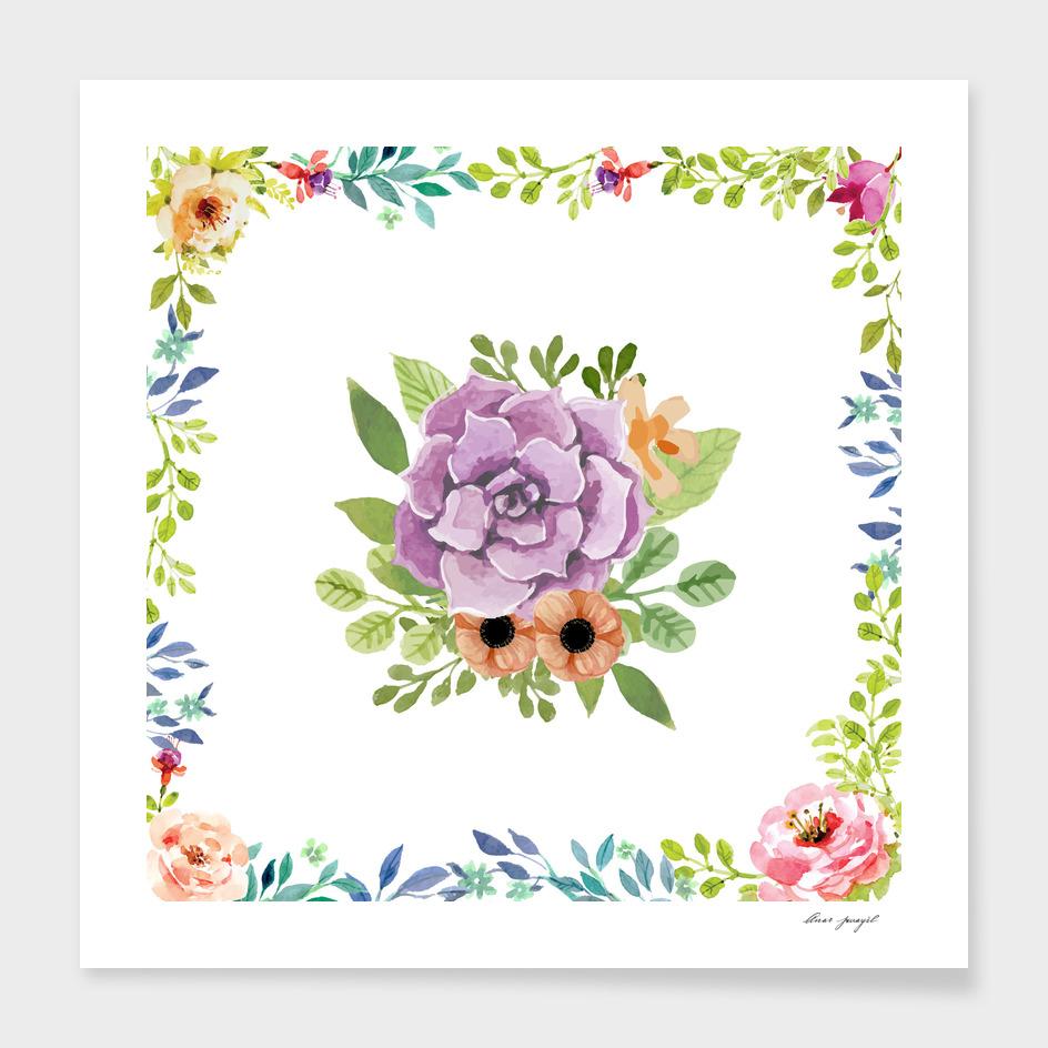 Spring floral elements frame