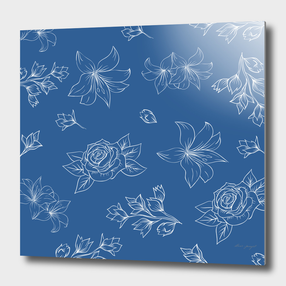 floral lineart pattern