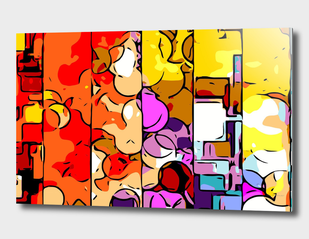 colorful psychedelic geometric graffiti drawing and painting