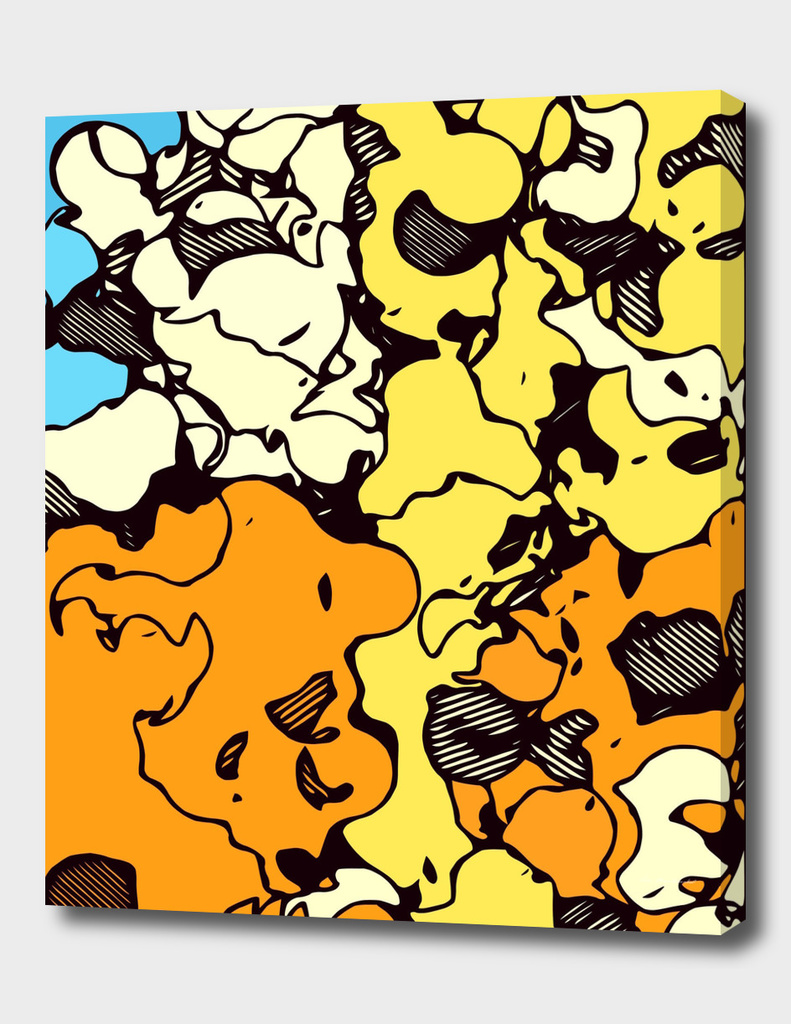 psychedelic graffiti painting abstract in orange yellow blue