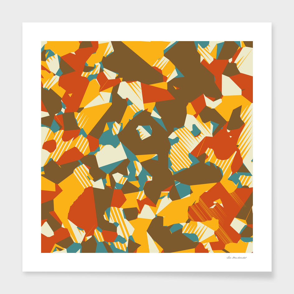 geometric graffiti abstract in brown yellow blue and orange