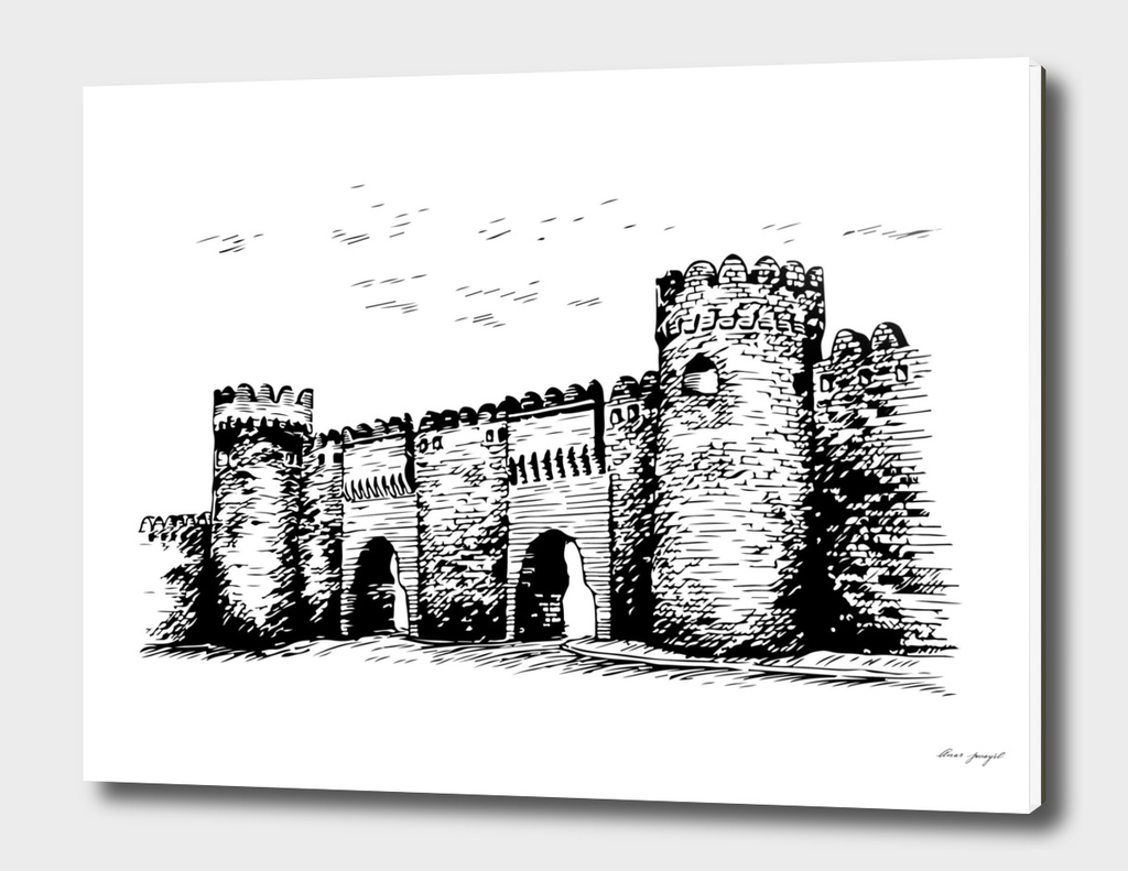 Castel of Baku ink art