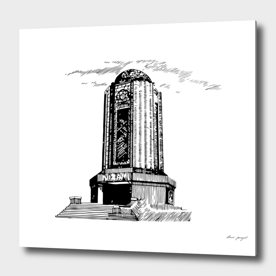 Old mausoleum ink art