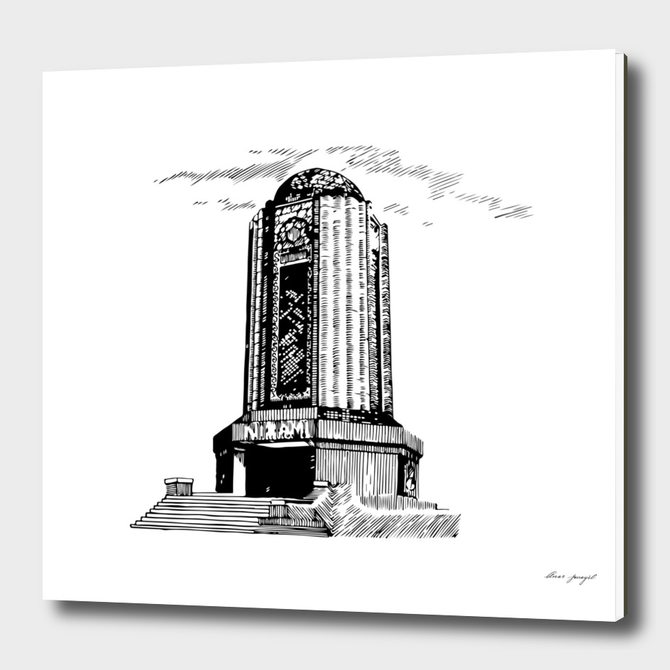 Old mausoleum ink art