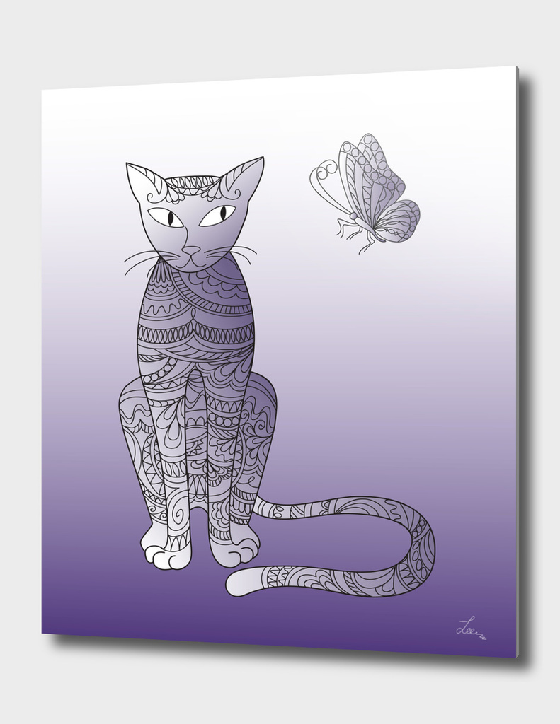 zen cat and butterfly