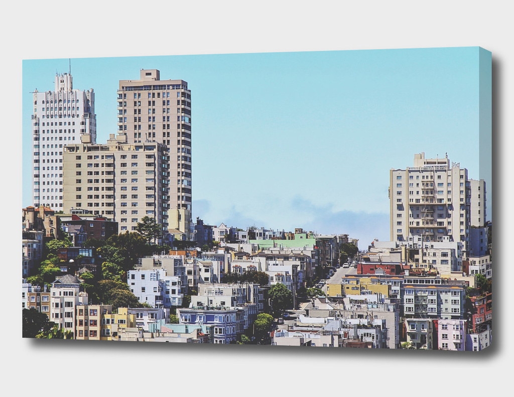 city view at San Francisco with blue sky