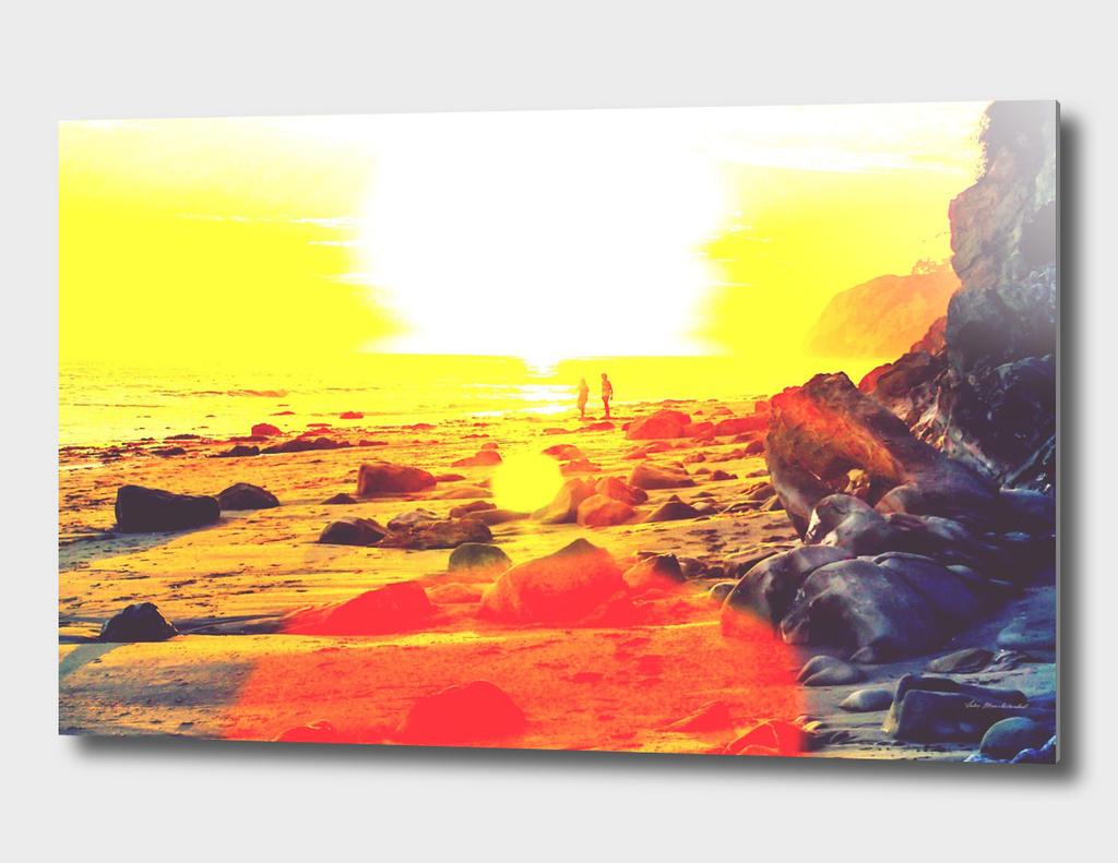beach sunset in summer