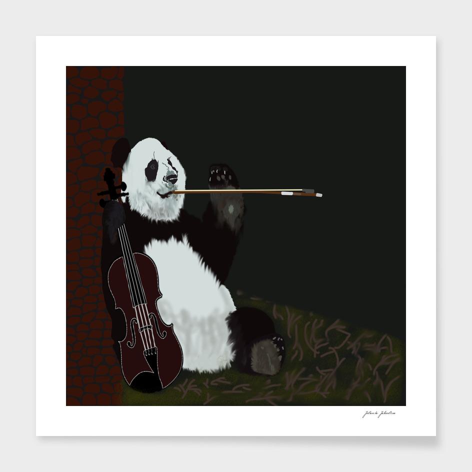 panda violinist abstract