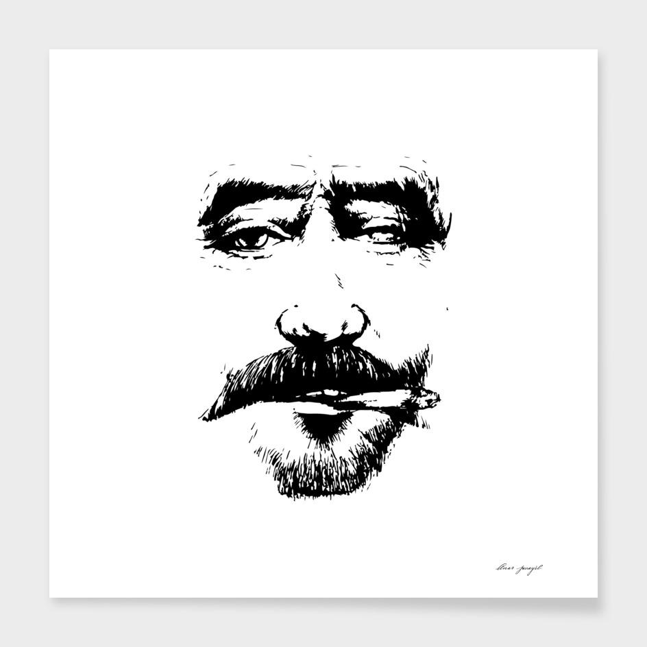 Fisherman ink art