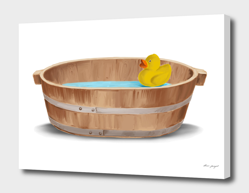 Old Wooden Bath Hand Painting