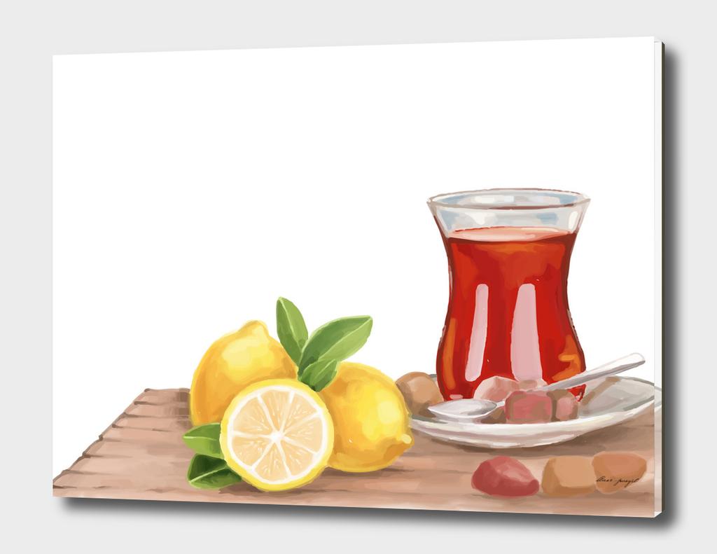 Tea & lemon hand printing